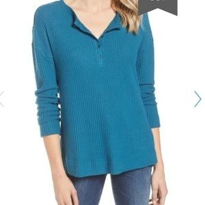NWOT Caslon Teal Thermal Henley Top Size Small